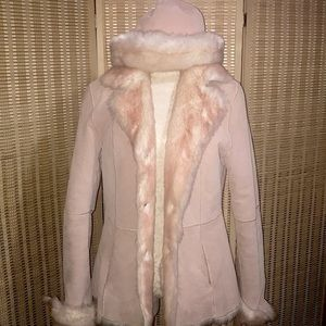 💕Wilsons Leather pink suede faux fur lining w hat